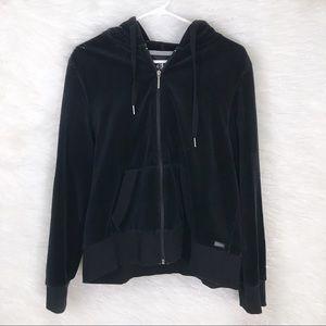 Calvin Klein Black Velour Zip-Up Hoodie XL